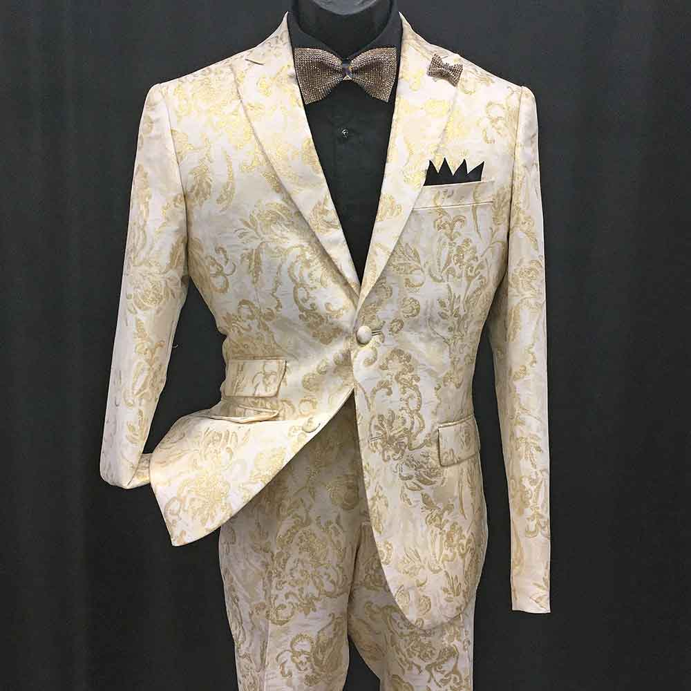 2-pc white and gold pattern suit