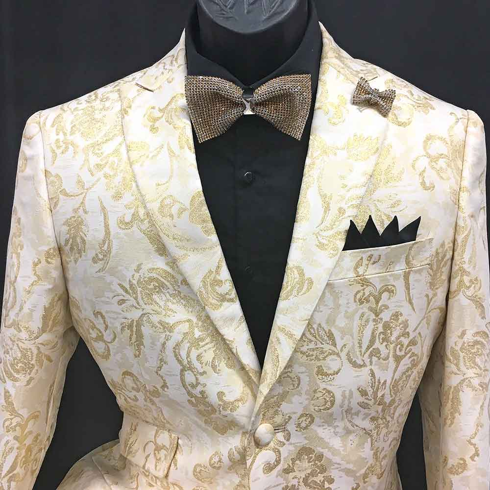2-piece white and gold pattern suit