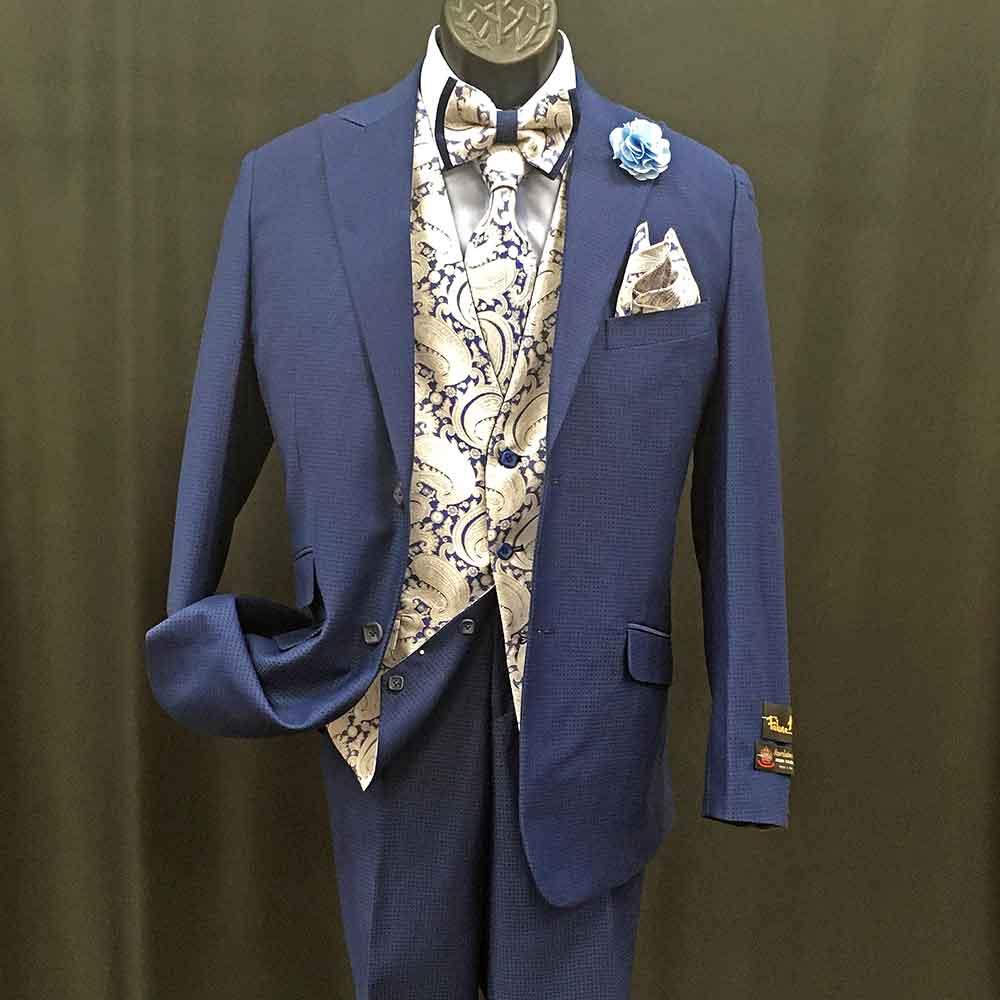 3-pc blue suit with light yellow vest