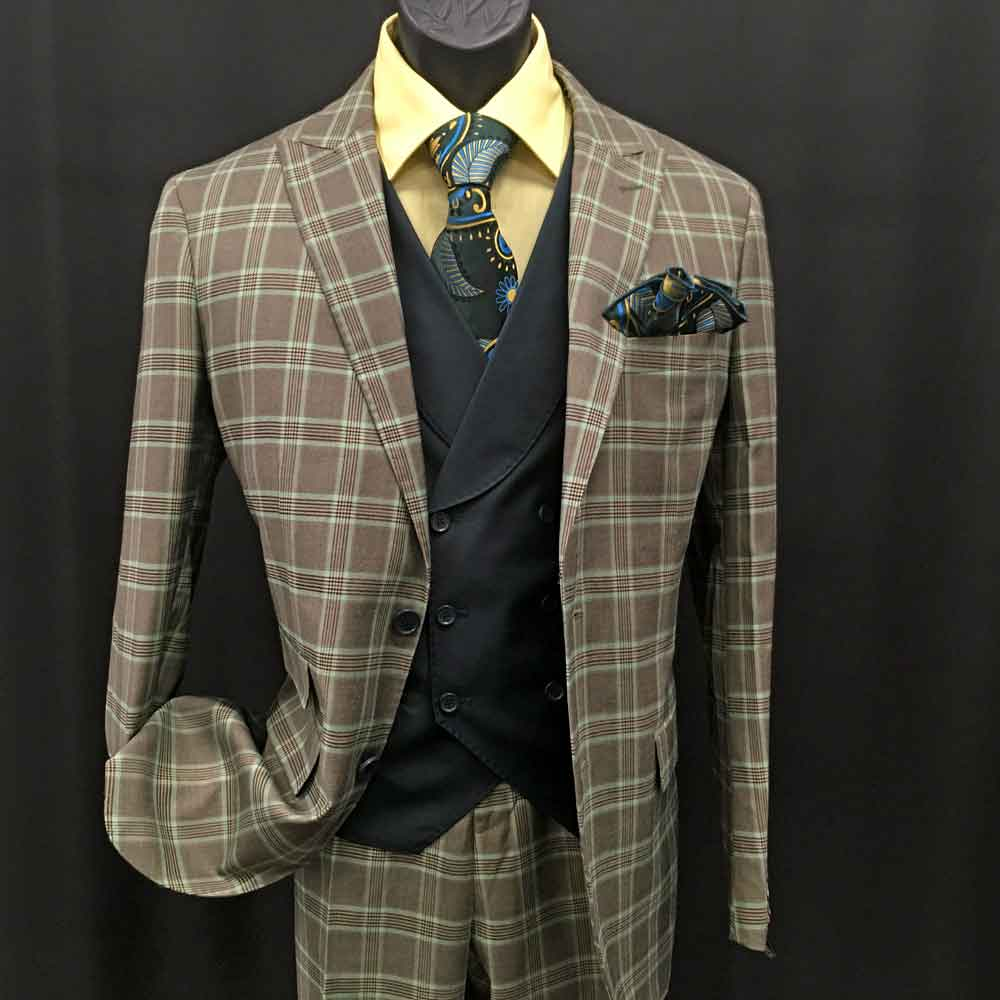 3-piece brown and green plaid suit with black vest