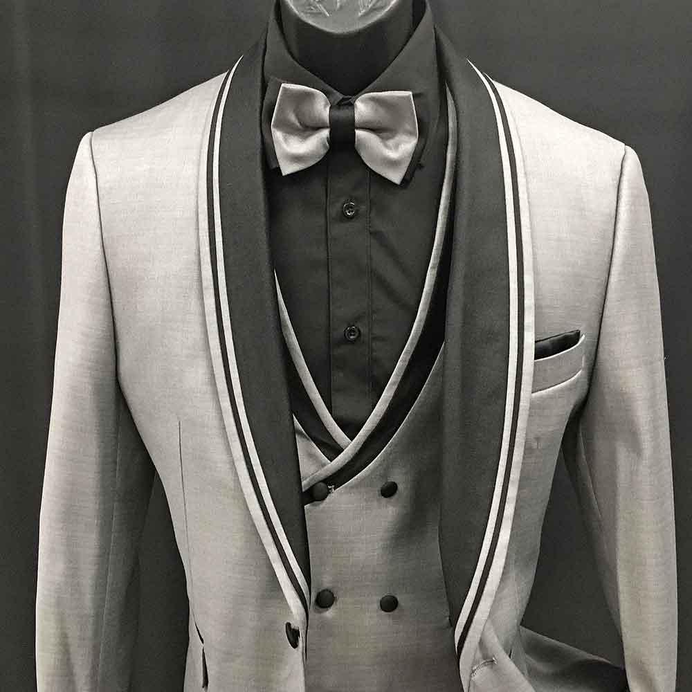 3-piece gray suite double breast vest