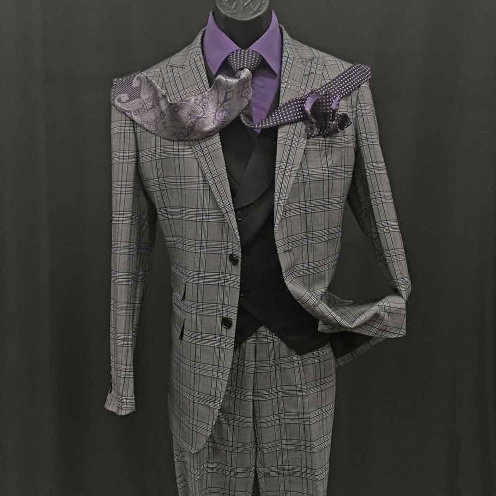 3-piece gray plaid suit with black vest