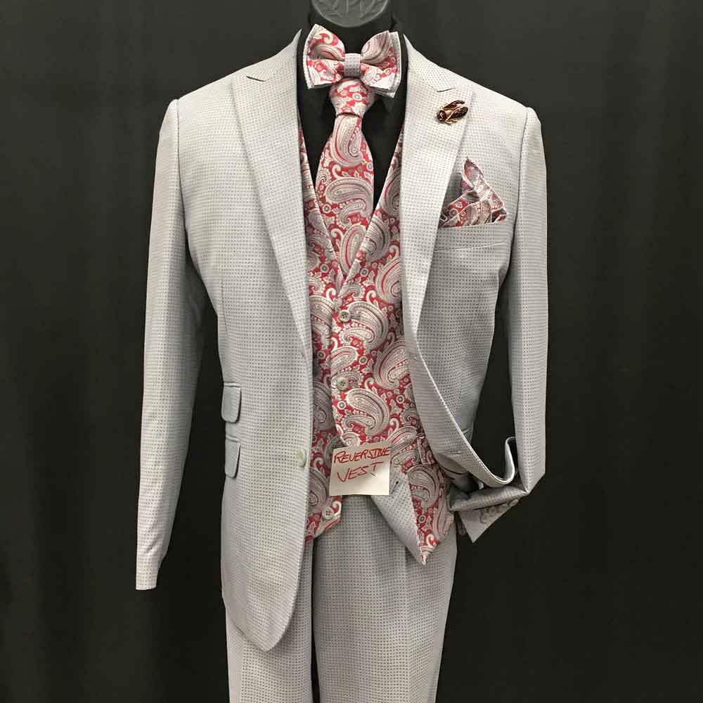 3-pc off-white suit with bowtie neck tie