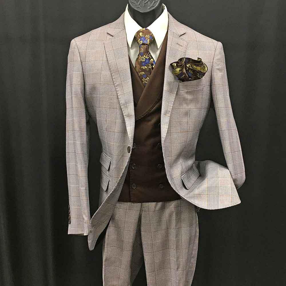 3-pc tan plaid suit with brown double-breast vest