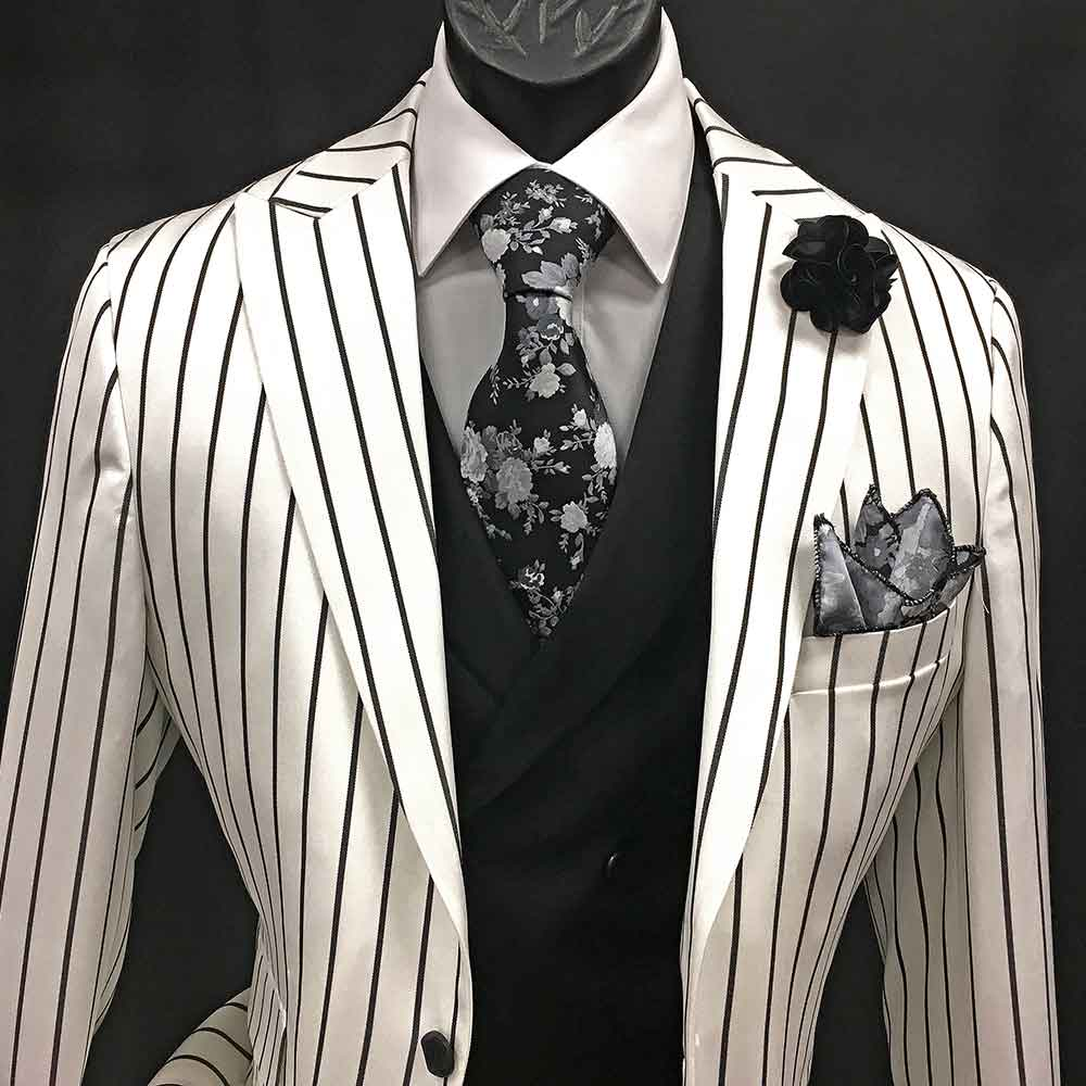 3-pc white suit with black stripes