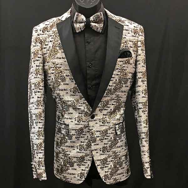 Formal Jacket white gold black