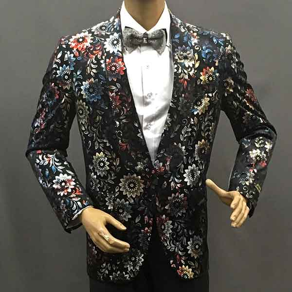 Formal Jacket black with colored flowers