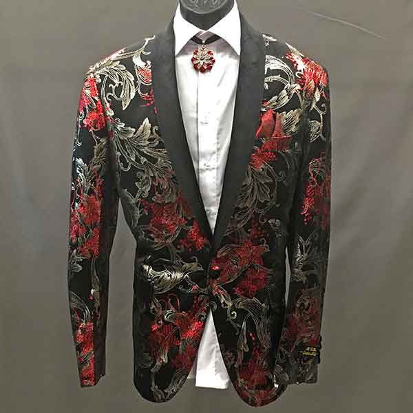 Formal Jacket black with red flowers