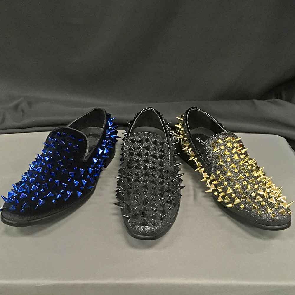 Men's Dress shoes blue, black, gold spikec