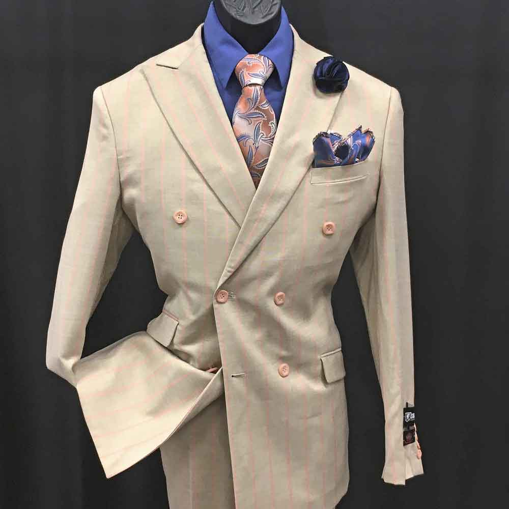 2-pc offwhite double-breasted suit with pink stripes