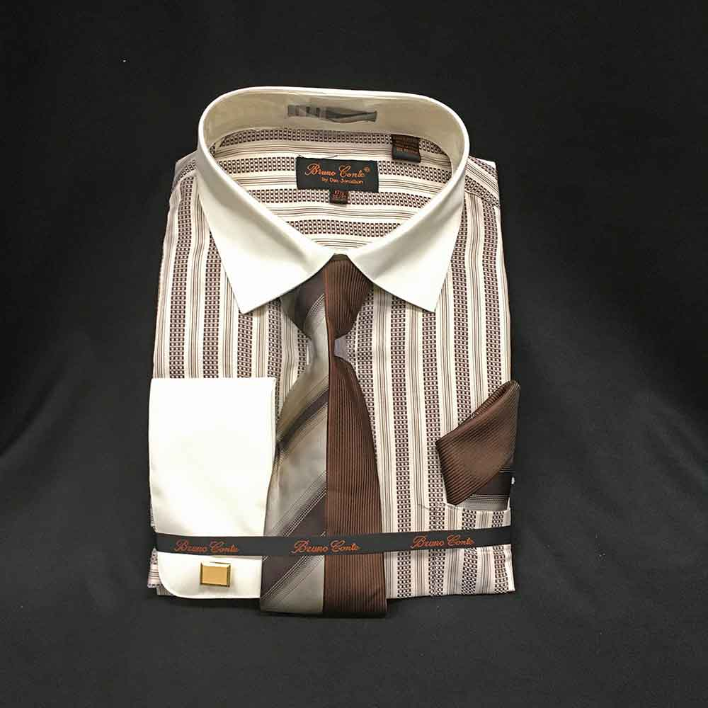 Men In Style Orlando Shirts - brown and white striped dress shirt