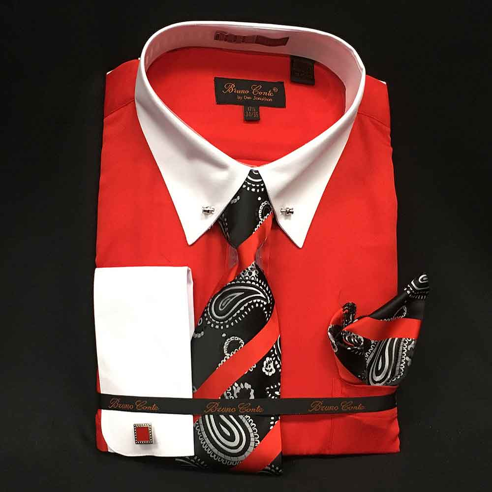 Men In Style Orlando Shirts - red and white dress shirt