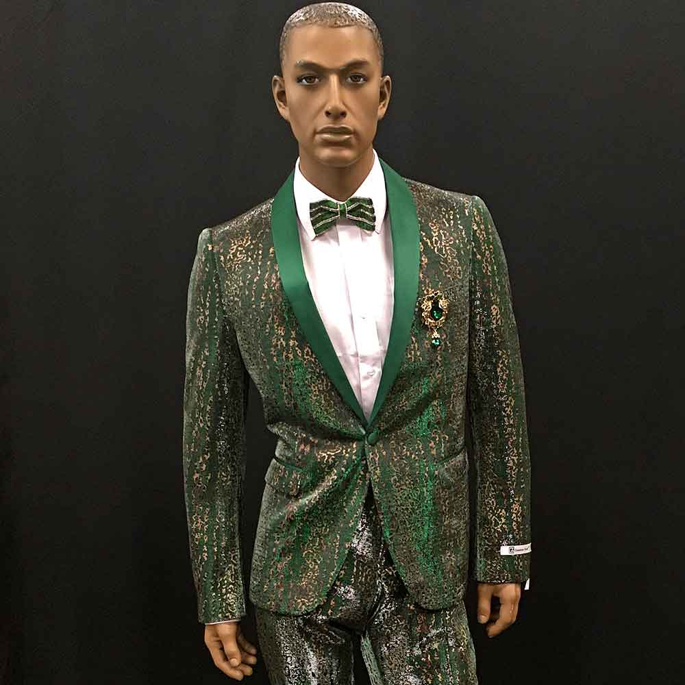 Men In Style Orlando Suit - green/Gold/silver 2-pc suit