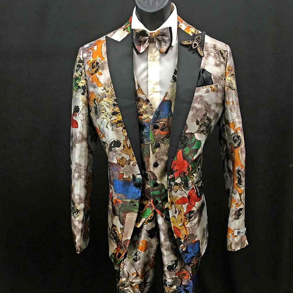Men In Style Orlando Suit - Multi-color 3-pc suit