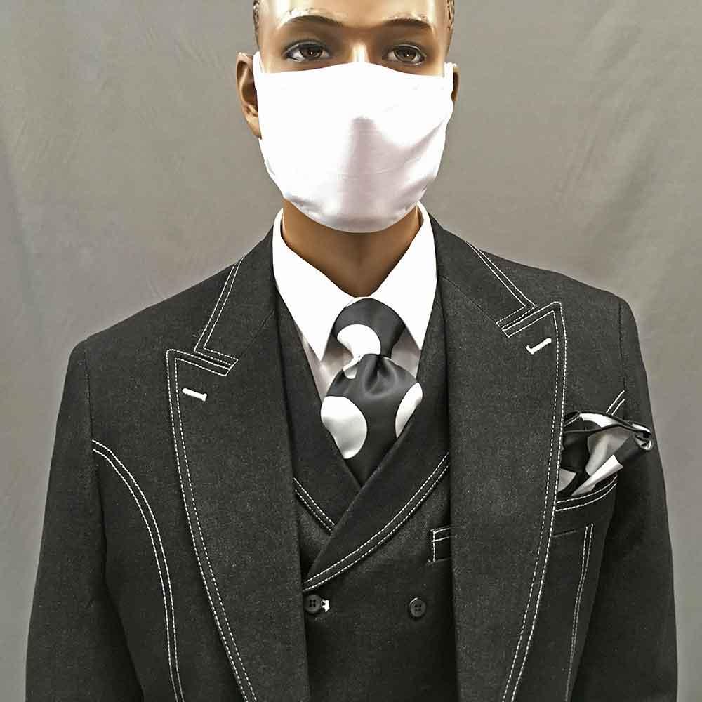 3-piece black denim suit