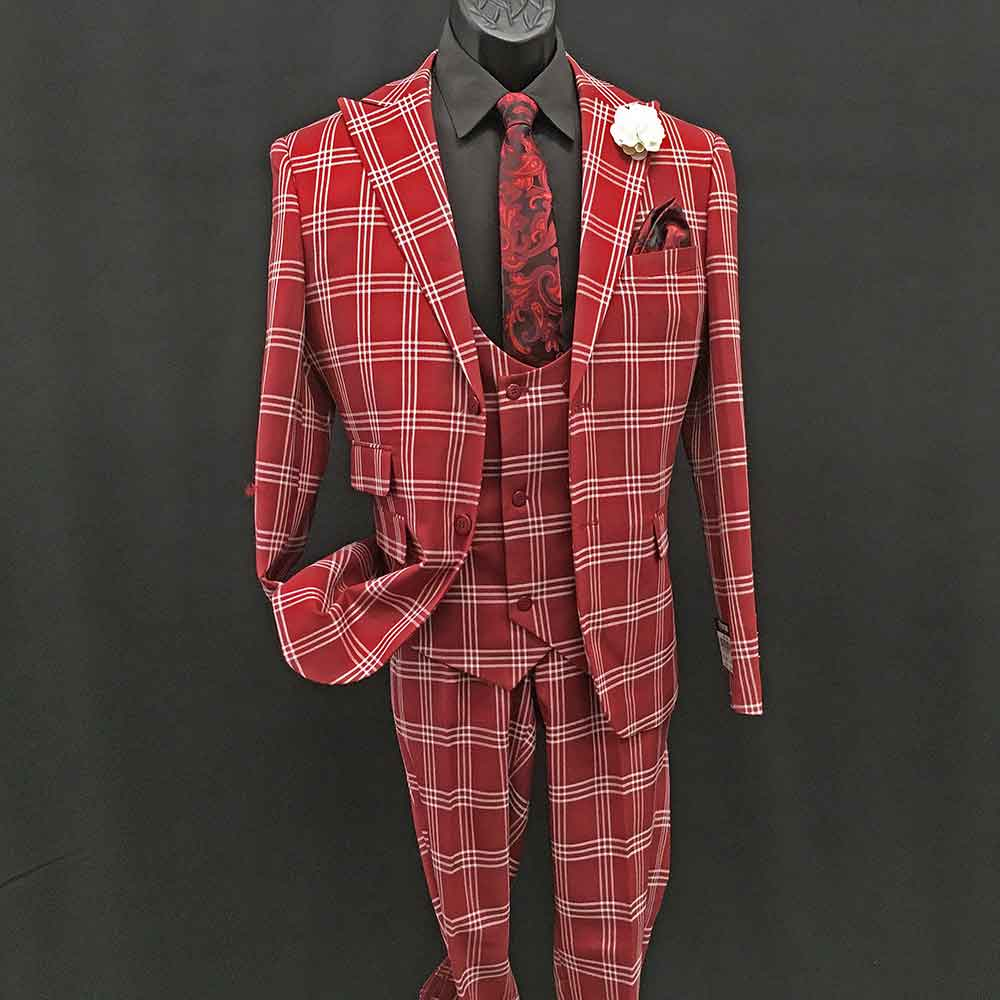 3-piece red check suit