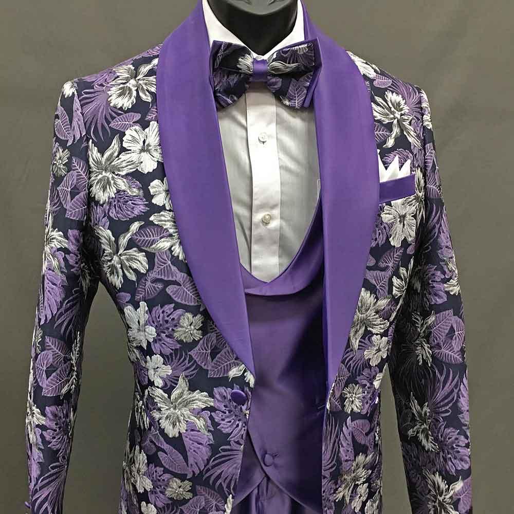 3-piece suit, purple with flowers