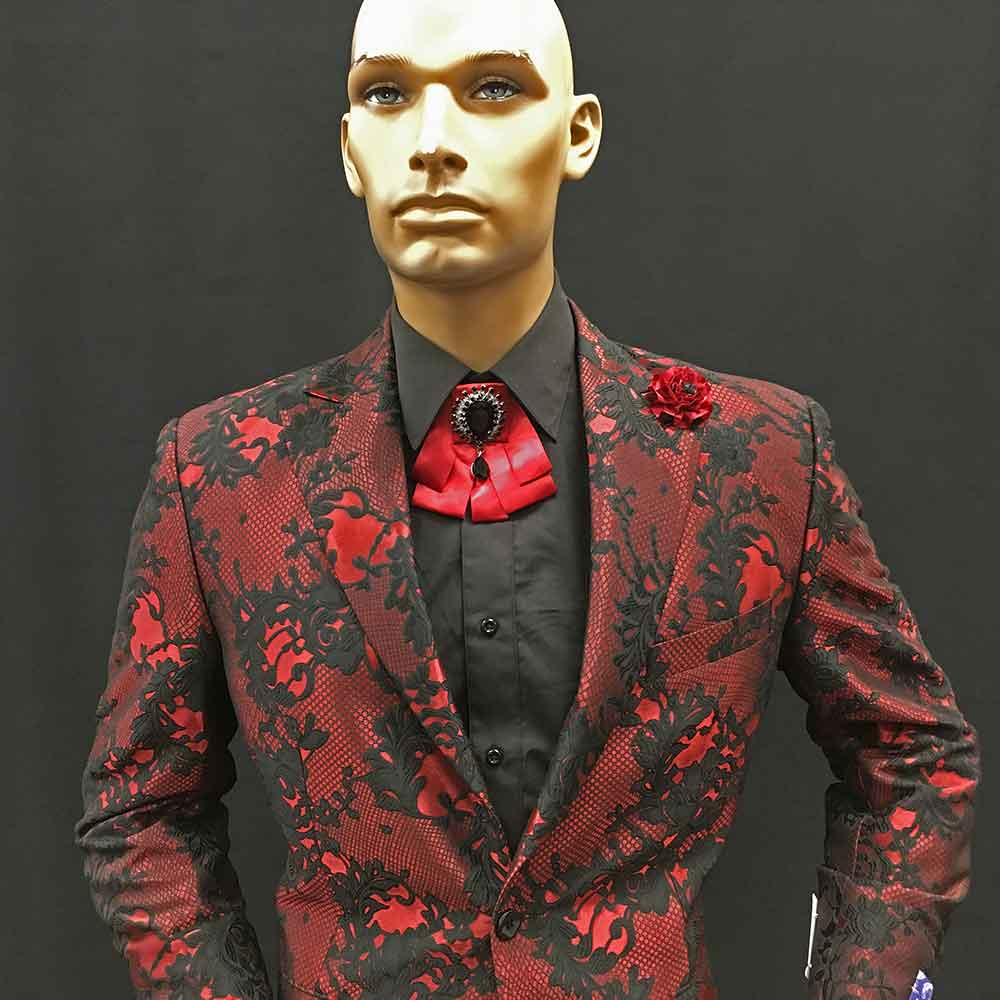 Red suit with black pattern
