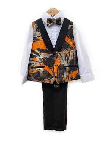 Boy's suit - black-orange pattern