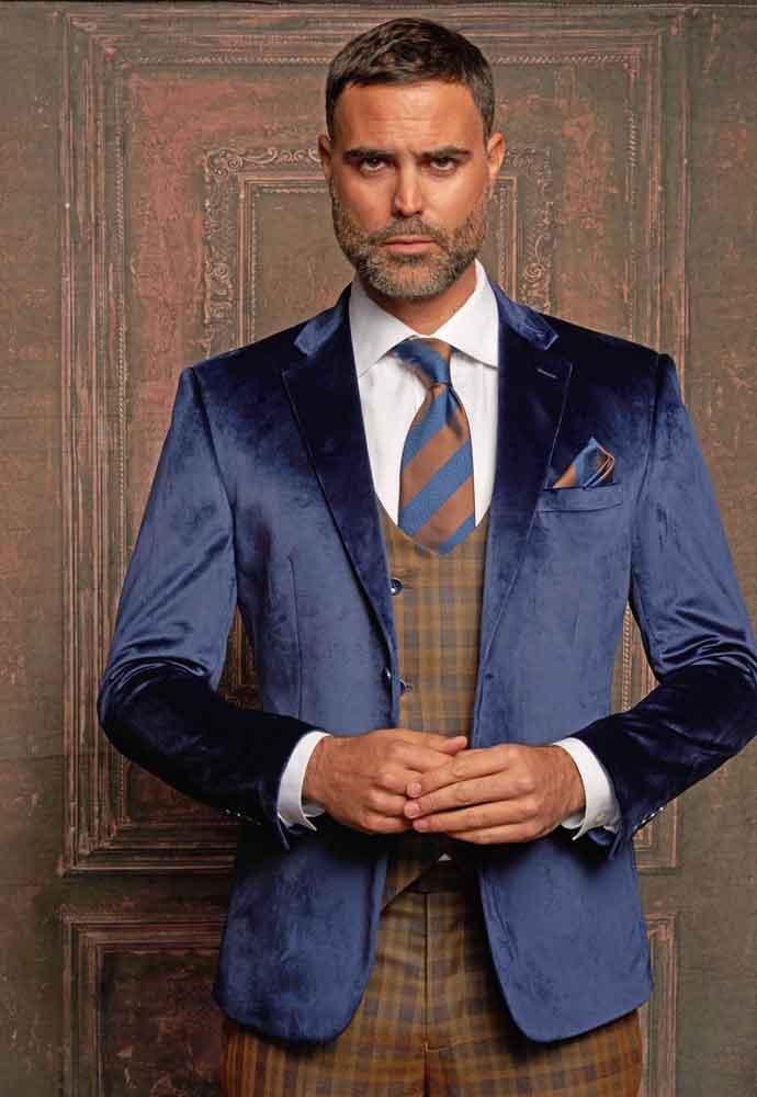 Blue Velvet Jacket-brown plaid vest-pants