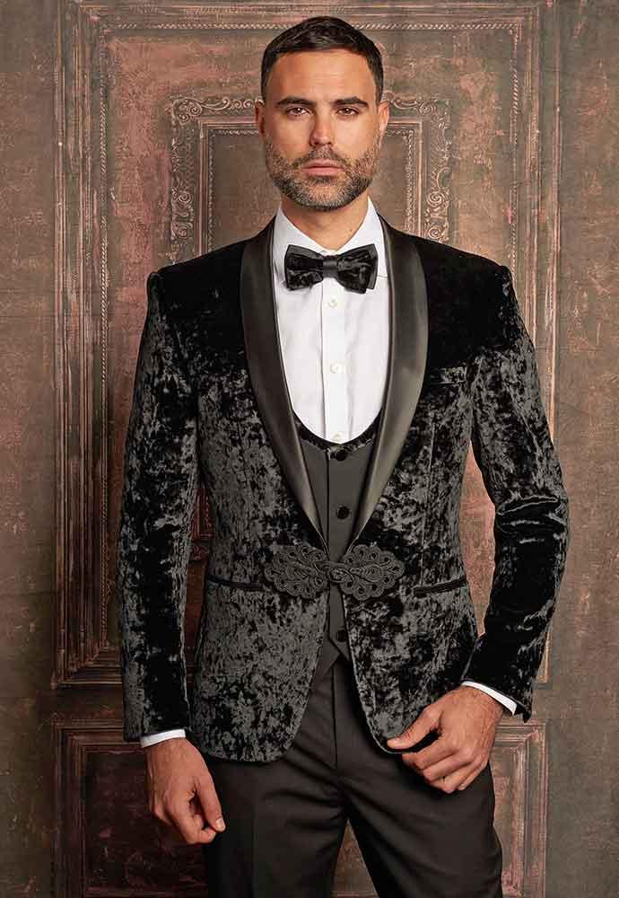 Black velvet jacket-black vest-slacks