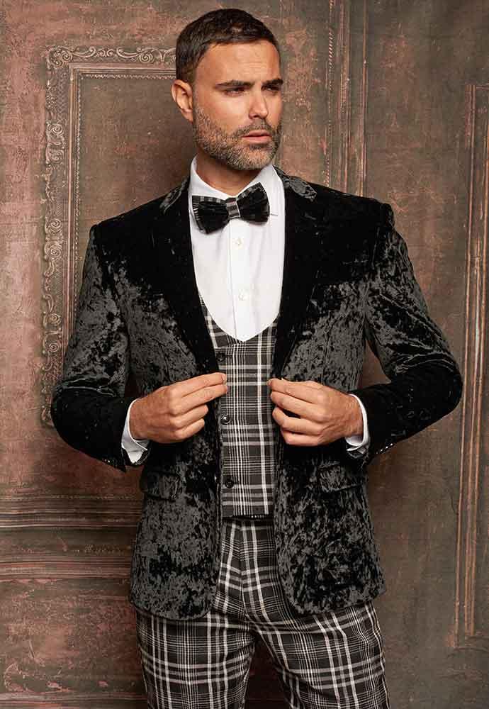 Black Velvet Jacket-black and white plaid vest-pants
