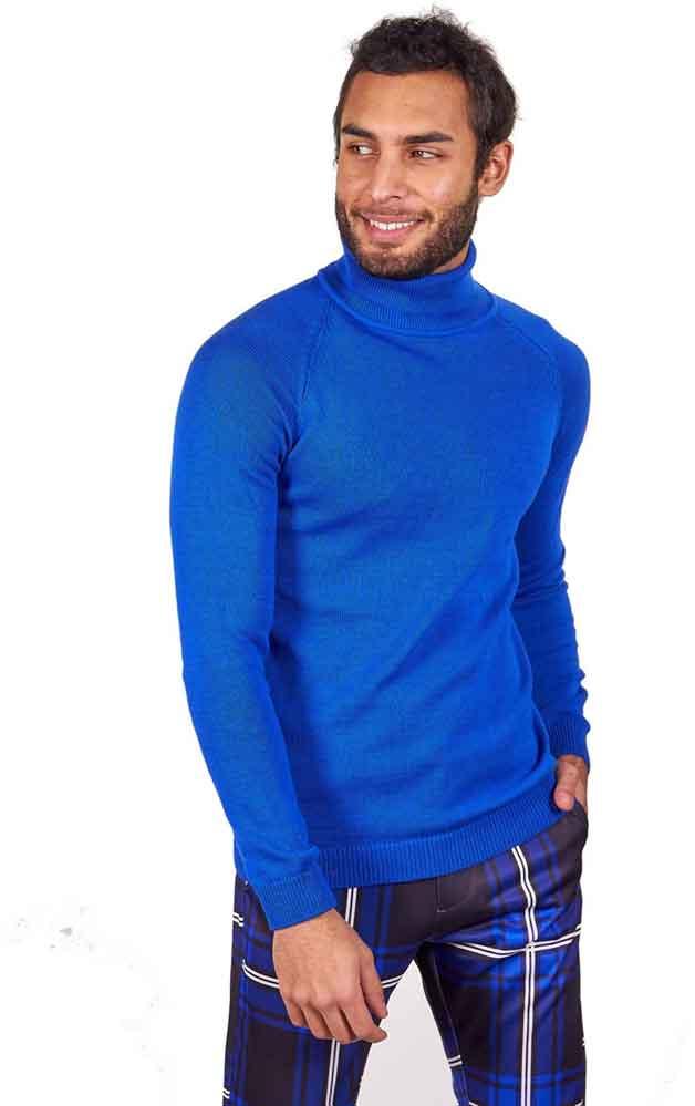 blue turtleneck and plaid pants