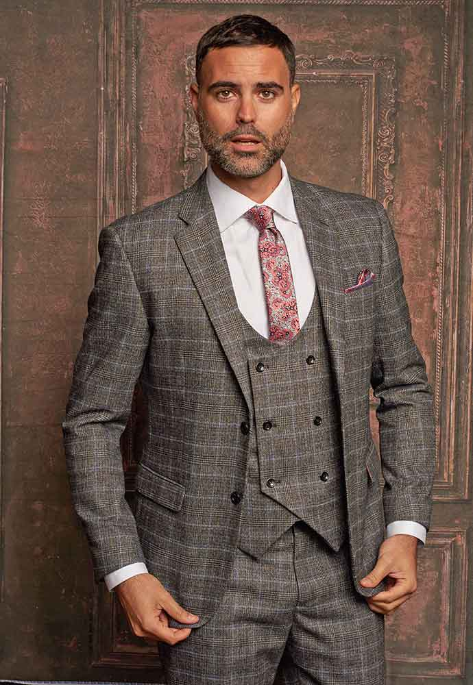 Gray and brown check 3-piece suit
