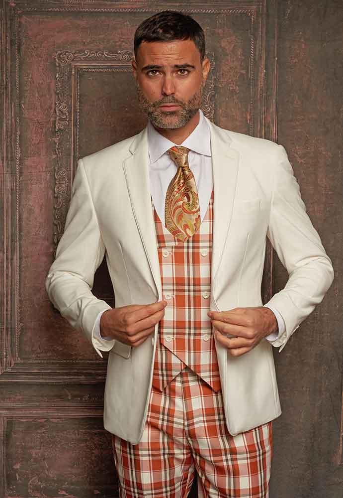 Ivory jacket 3-pc suit with orange plaid vest and pants