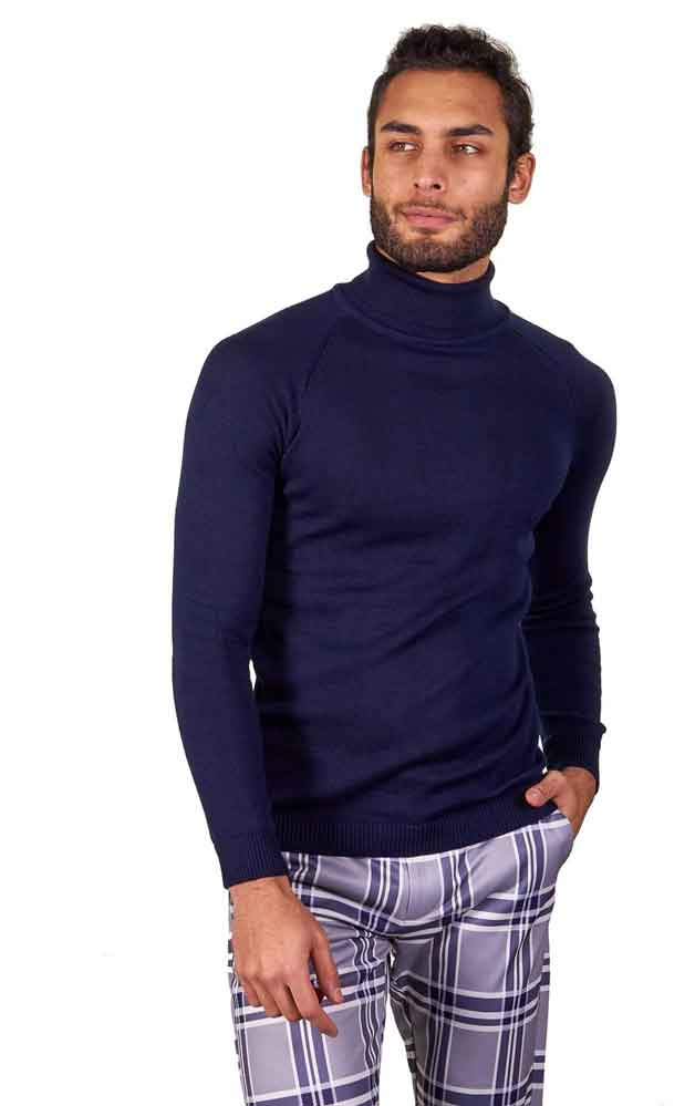 Suslo Coutoure Navy turtleneck and plaid pants