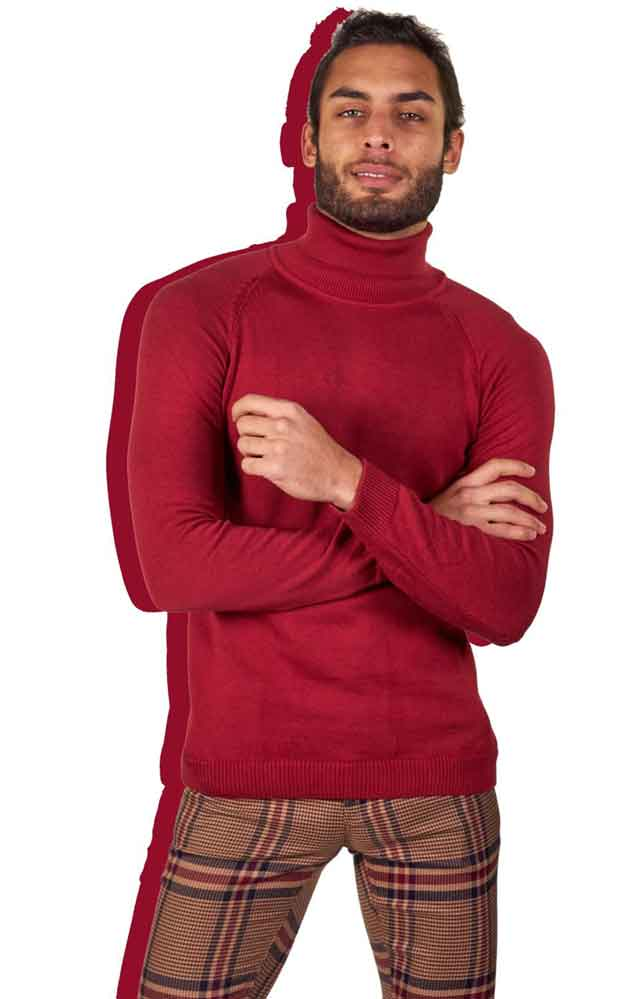 red turtleneck and plaid pants
