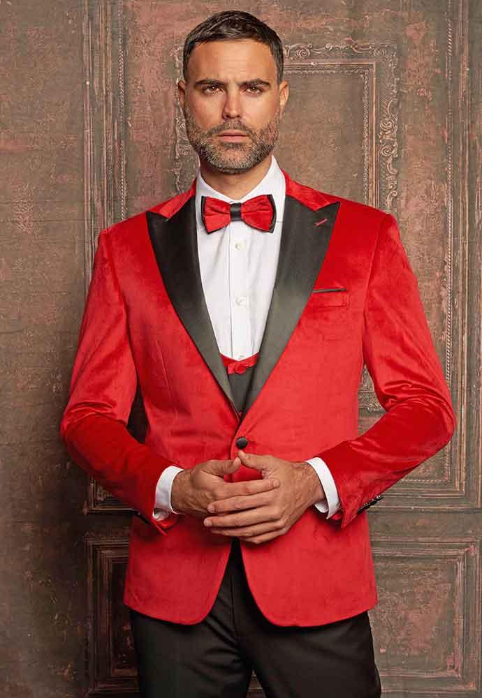 Red velvet jacket-black lapel-black vest-pants