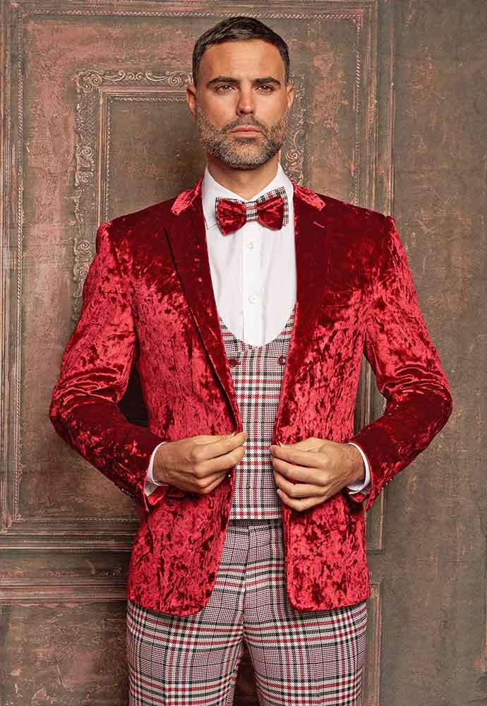 Red velvet jacket-black-red-plaid vest-pants