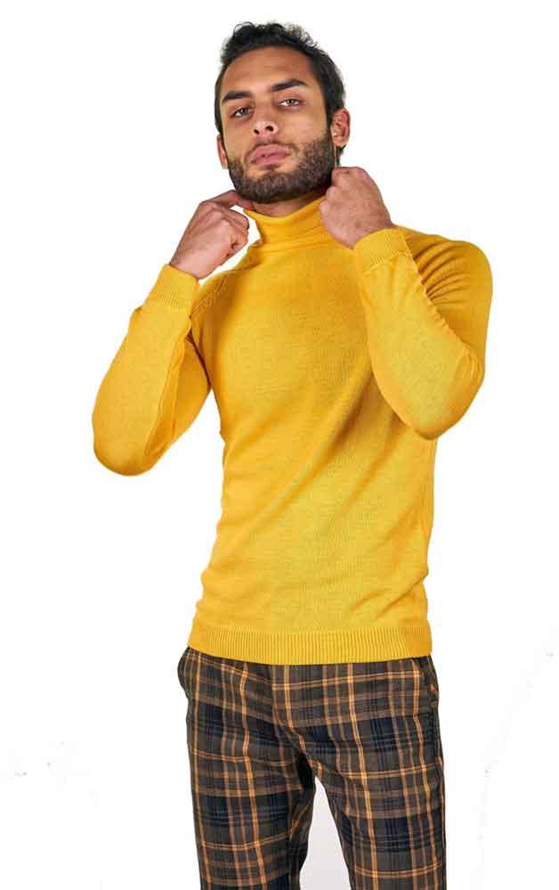 yellow turtleneck and plaid pants