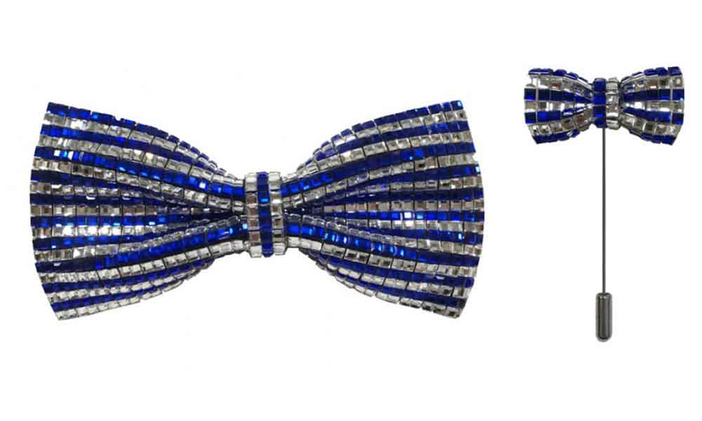 Bow Tie with lapel pin - Blue
