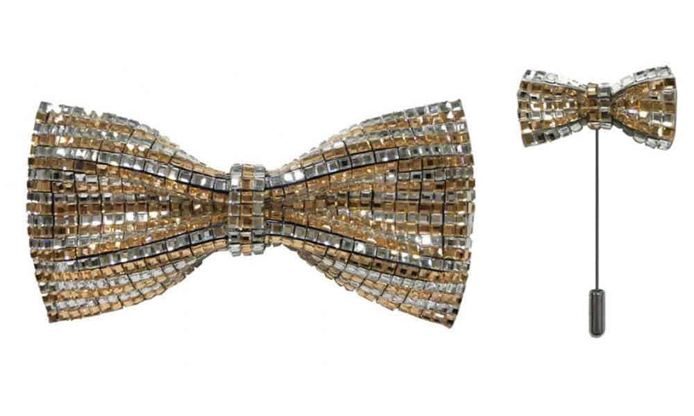 Bow Tie with lapel pin - Gold