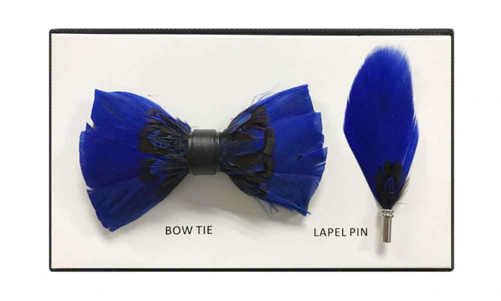 Feather Bow Tie - Blue