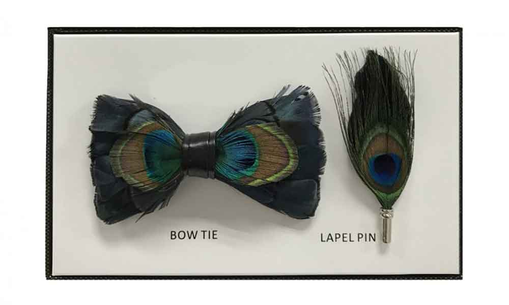 Feather Bow Tie - Peacock
