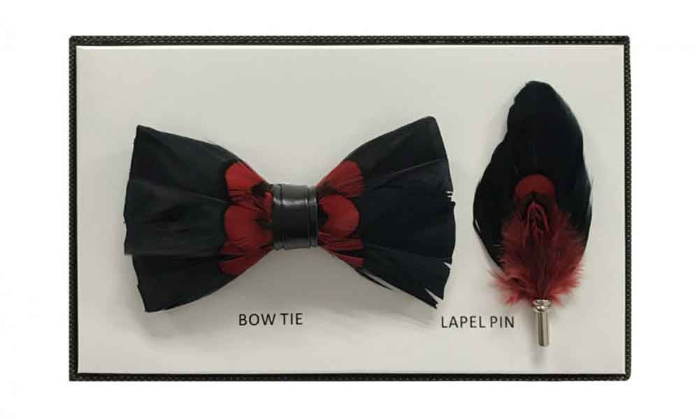 Feather Bow Tie - Red