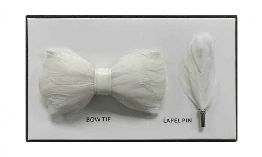 Feather Bow Tie - White