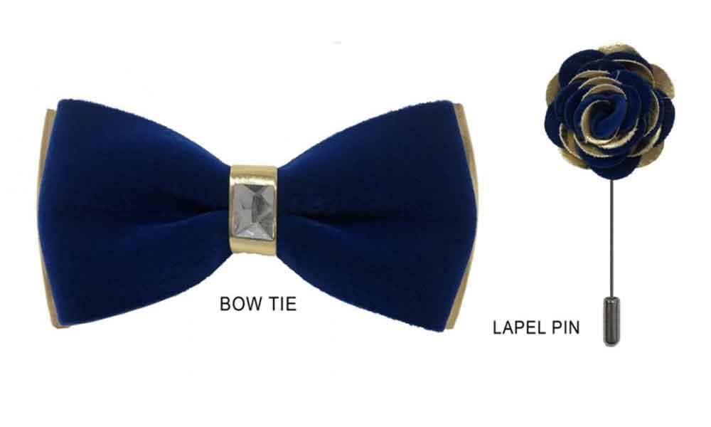 Velvet Bow Tie - Blue