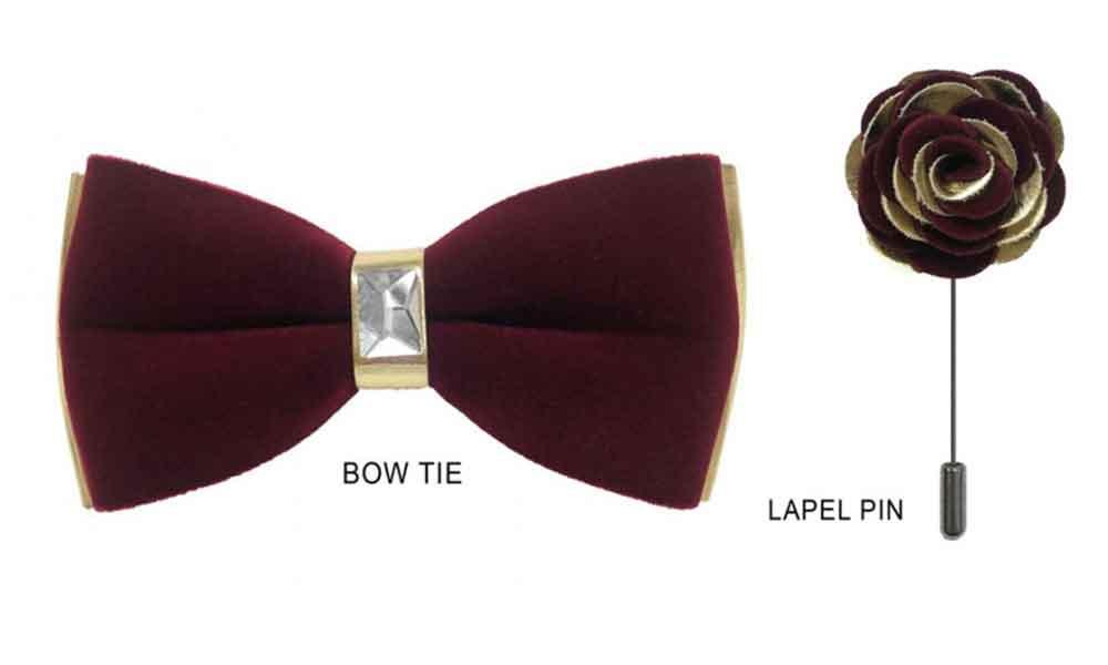 Velvet Bow Tie - Burgundy