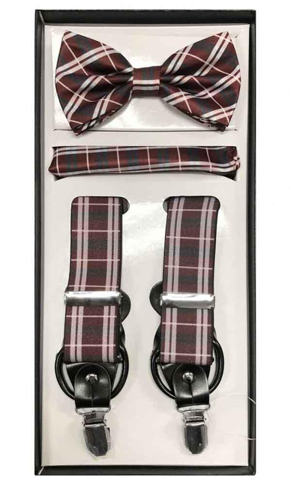 Suspender Set - Burgundy