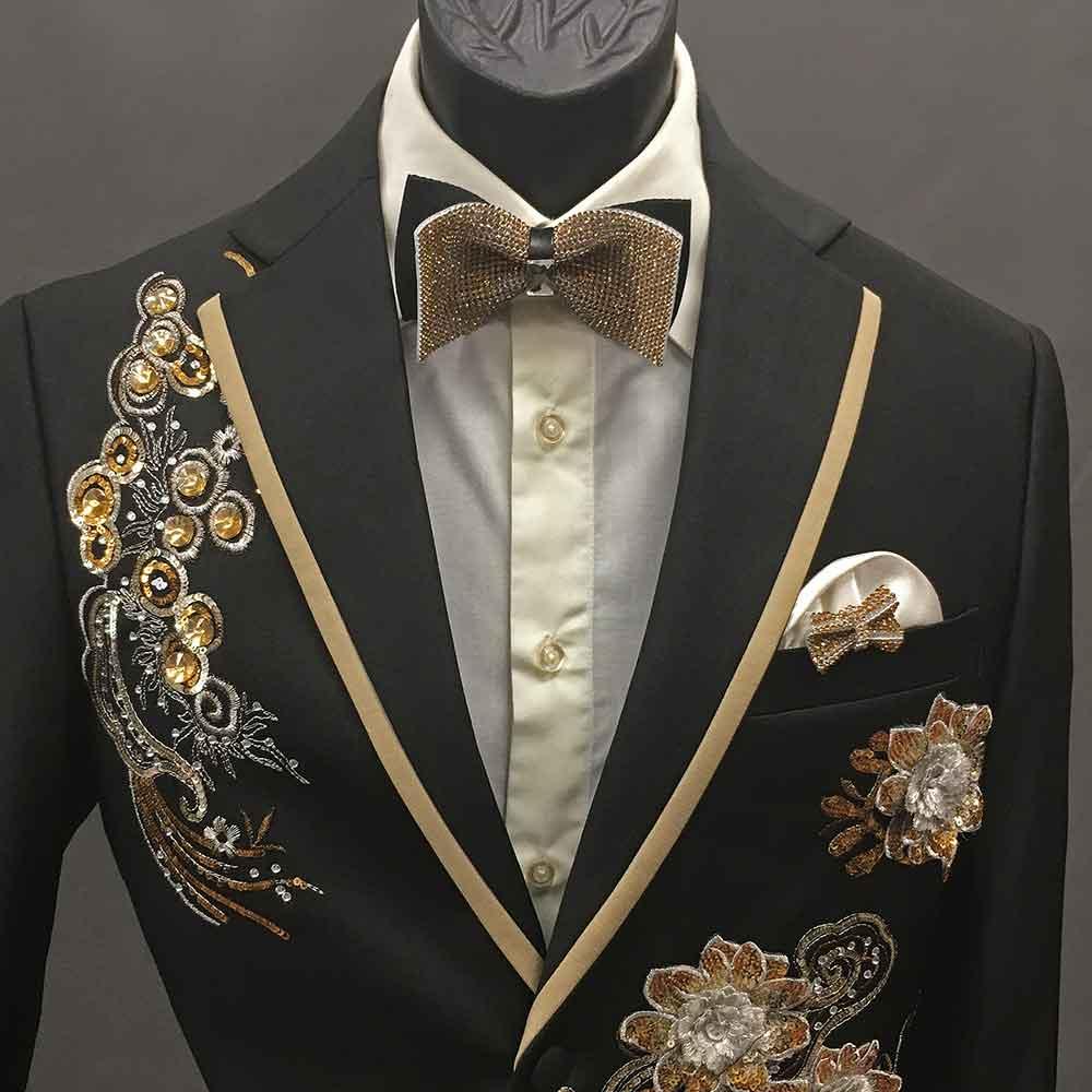 Men In Style Orlando 2-piece Suit - Black-gold lapel