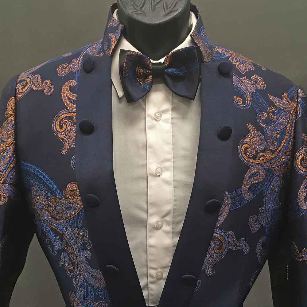 Men In Style Orlando 2-piece Suit - Navy- orange-blue-pattern