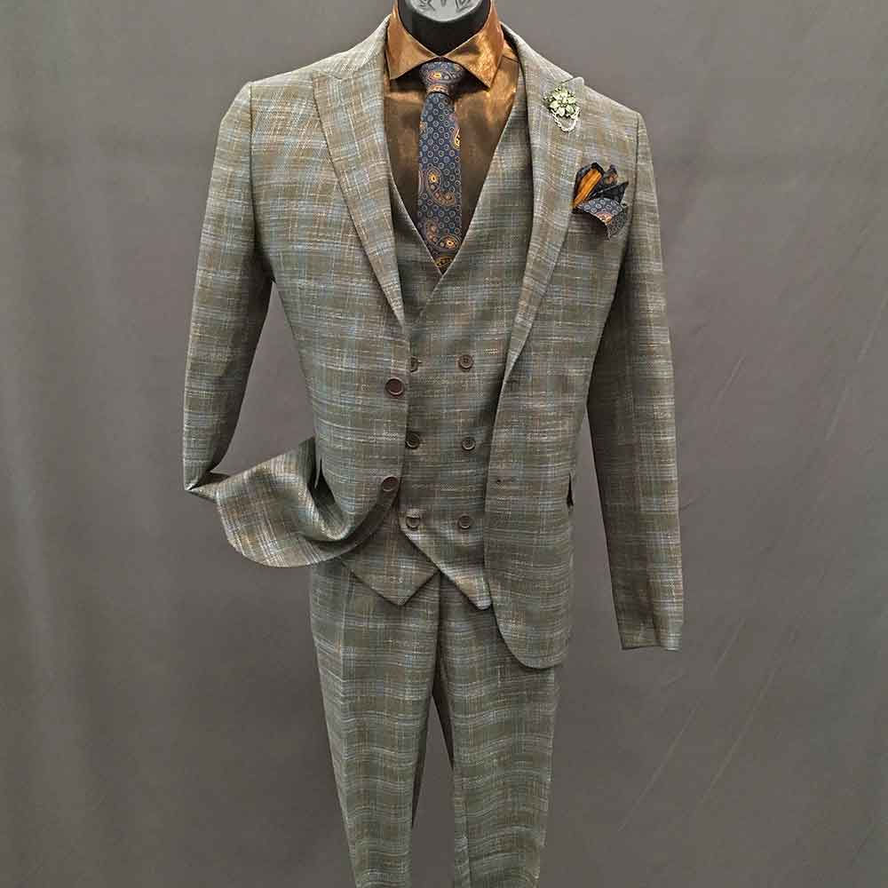 Men In Style Orlando 3-piece Suit - Green Plaid-Copper Shirt