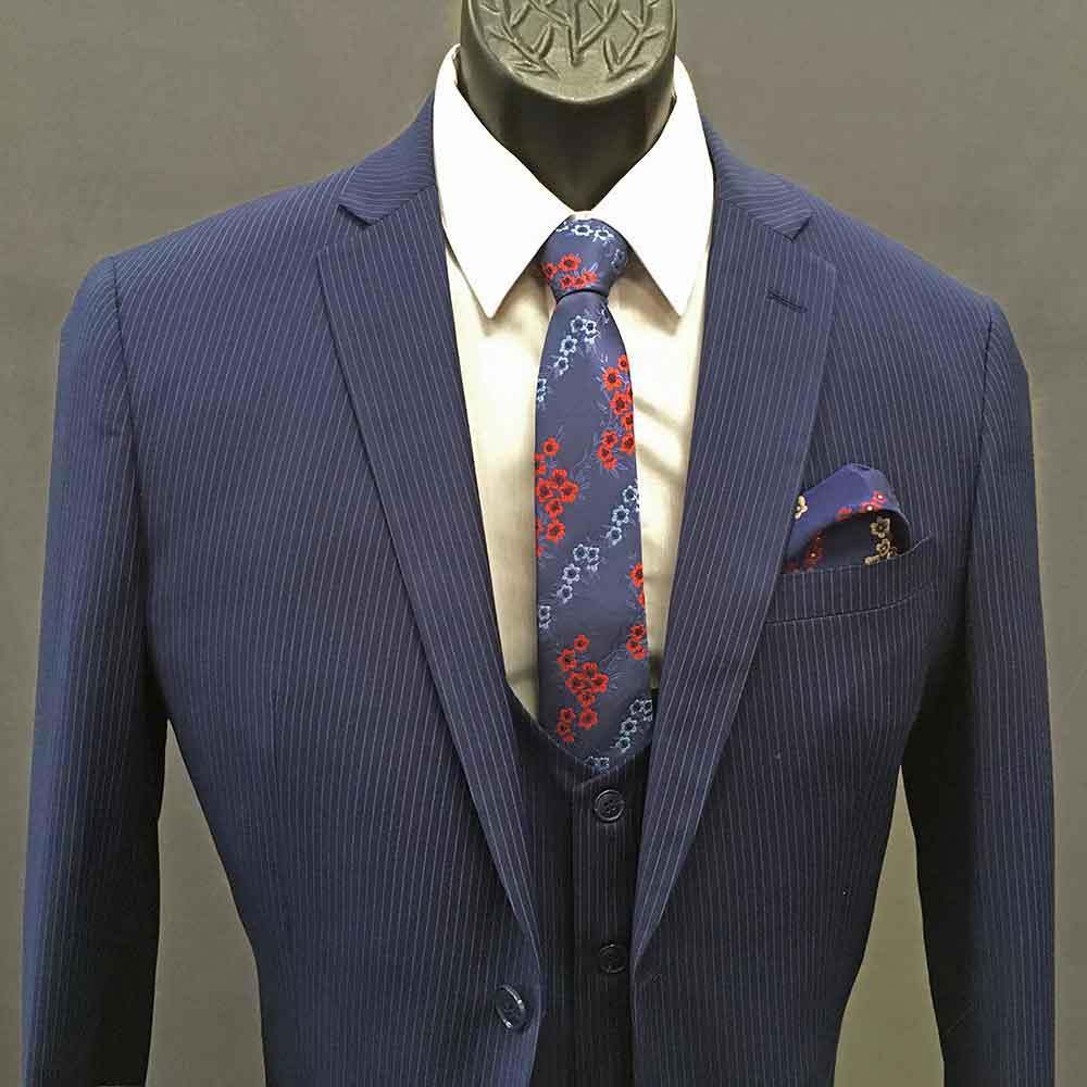 Men In Style Orlando 3-piece Suit - Blue Pinstripe