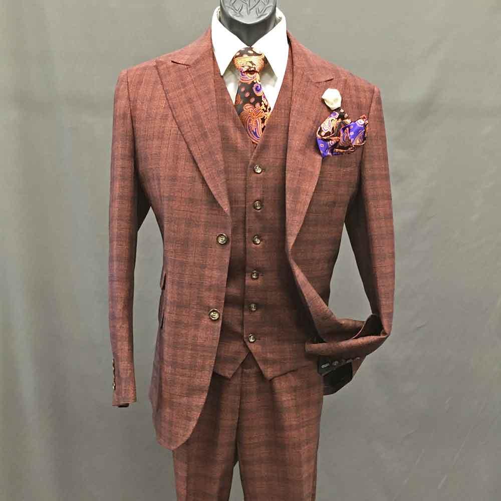 Men In Style Orlando 3-piece Suit - Orange Plaid-6-button-vest